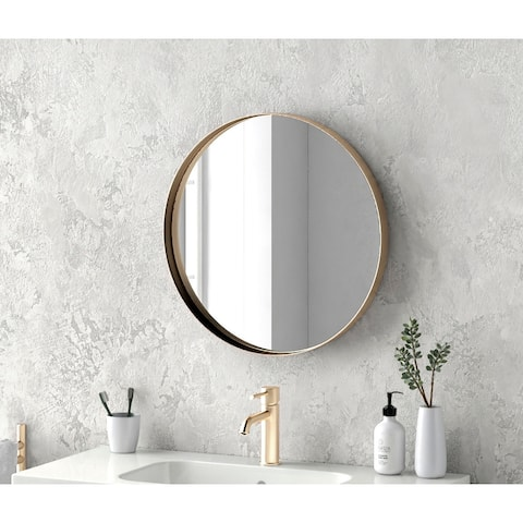 """24"""" Kende Round Mirror Old Style Golden Finish Diameter 24 inches Decorative Metal Rounded Wall Mirror"""