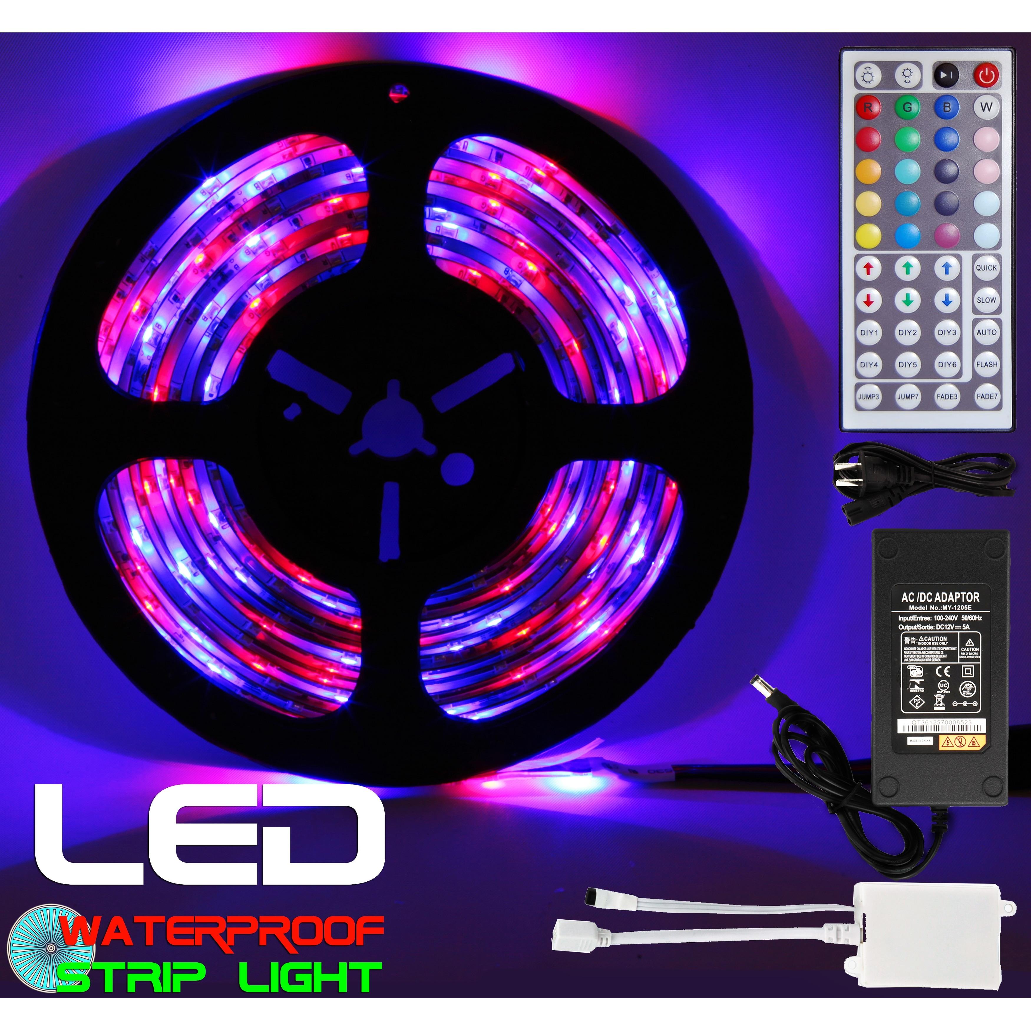 5M RGB 5050 Waterproof LED Strip light 300 SMD 44 Key Remote Home Garden Decor