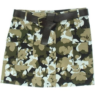 MICHAEL Michael Kors Womens Camouflage Pocket A-Line Skirt