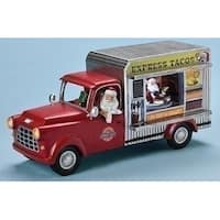"11"" Red and Silver Colored Santa in Truck Christmas Tabletop Figure - LED Lights"