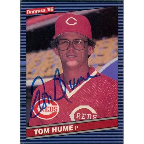 Signed Hume Tom Cincinnati Reds Signed 1986 Donruss Baseball Card Autographed