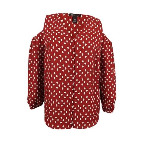 INC International Concepts Women's Plus Size Cold-Shoulder Printed Shirt - gridded geo