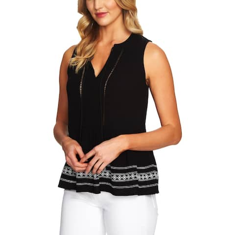 CeCe Womens Pullover Top Embroidered Tassel