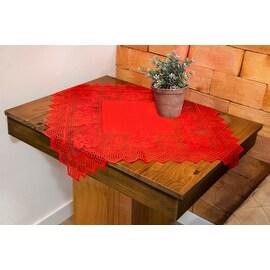 Table Topper Grega Design Brazilian Lace 29x29 Inches Red Color 100 Percent Polyester