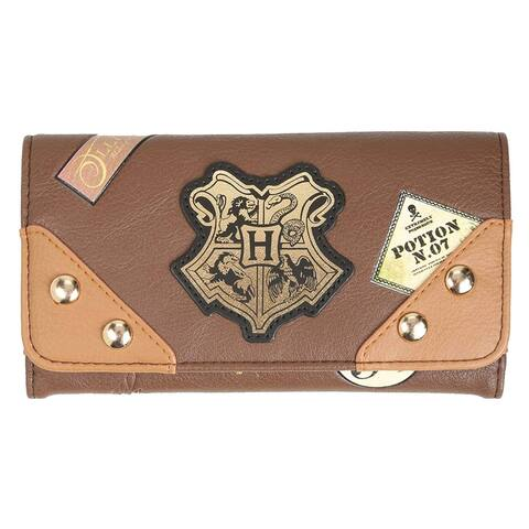 Harry Potter Hogwarts School Trunk Inspired Snap Closure Trifold Flap Wallet