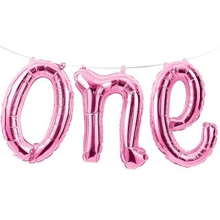 """Club Pack of 12 Pink """"One"""" Party Foil Balloon Banners 60"""""""