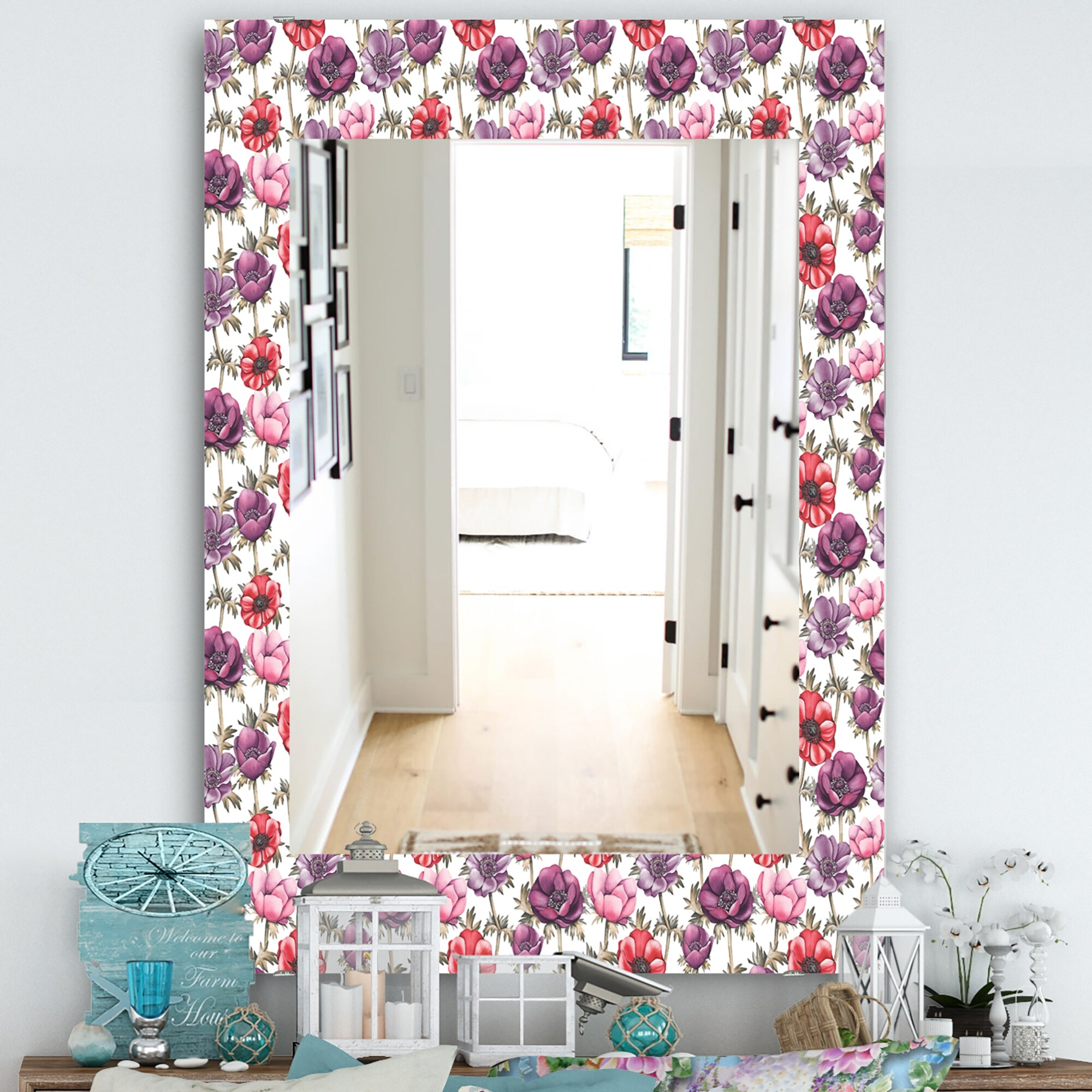 Designart Purple Bloom 2 Traditional Mirror Frameless Bathroom Mirror On Sale Overstock 27978301