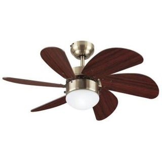 Westinghouse 7824865 30 inch Antique Brass Six Blade Ceiling Fan With Frost Globe