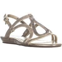Bandolino After Shoes Flat Ankle Strap Sandals, Gold