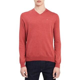 Calvin Klein Mens Pullover Sweater Wool V-Neck