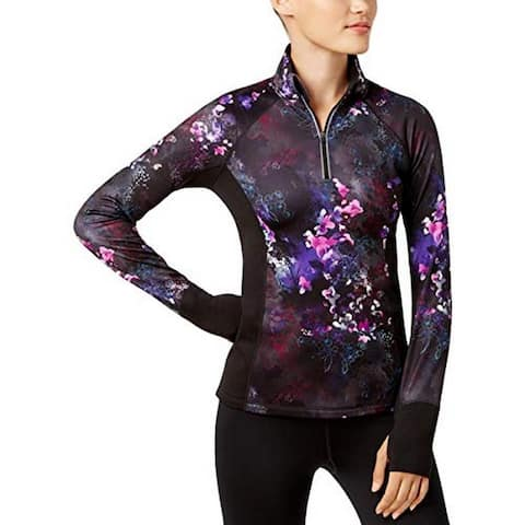 Ideology Women's Fitness Brushed Floral Printed Half-Zip Top (S)