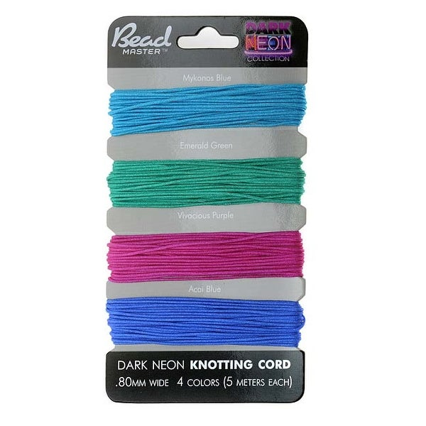 Chinese Knotting Cord Assortment 0.8mm Thick - Dark Neon Mix (4 Pack)