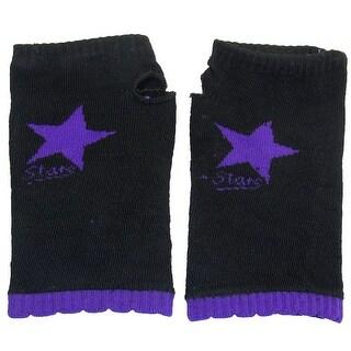 Unique Bargains Woman Purple Star Print Flower Brim Stretchy Knit Fingerless Gloves Black