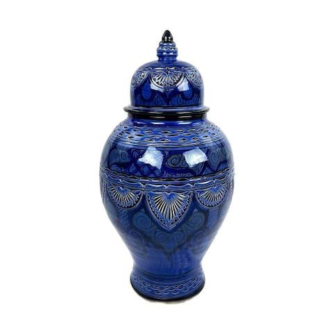 Mamounia XL Moroccan Ceramic Vase with Lid Blue/Chili