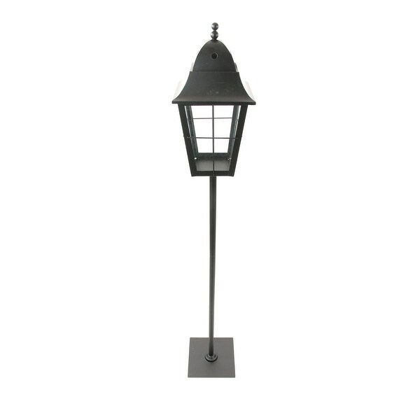 "47"" Traditional Black Metal and Glass Paned Holiday Pillar Candle Lantern Christmas Decoration"