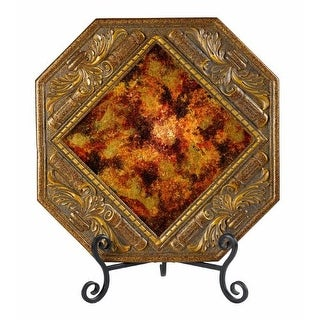 """Cal Lighting TA-202PT 25 Watt 18.25"""" Tuscan Resin/Glass Lighted Charger Plate with Reverse-Painted Glass and Scroll Accents from"""