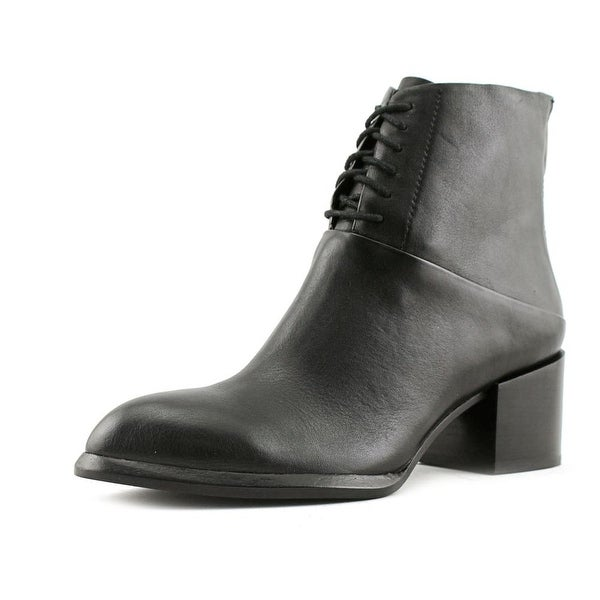 Calvin Klein Jeans Nickia Women Round Toe Leather Black Ankle Boot