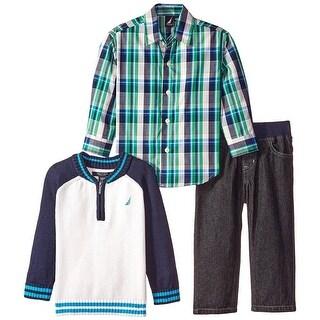 Nautica Boys 2T-4T 3-Piece Raglan Sweater Set