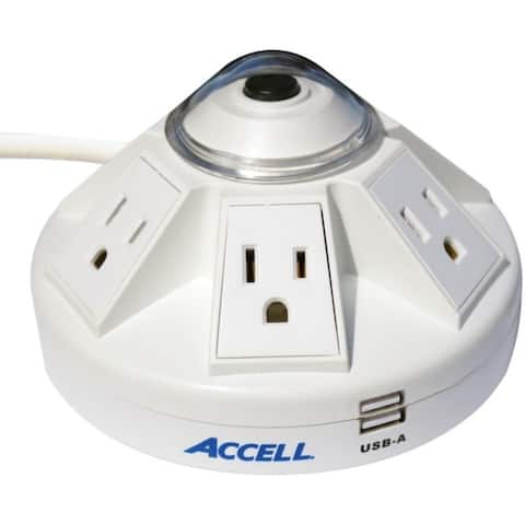 ACCELL D080B-014K Powramid 6-Outlet Power Center with Surge Protection and USB Charging Station (White)