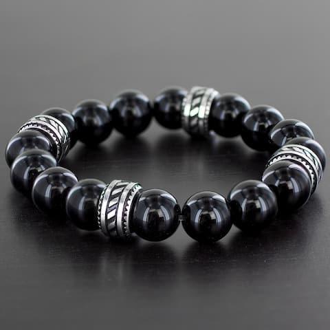 Crucible Stainless Natural Gemstone Bead Bracelet (12 mm)
