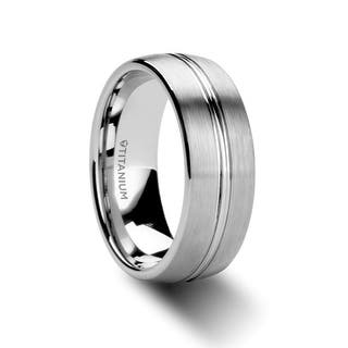 upton titanium brushed mens wedding ring with polished center 8mm - Titanium Wedding Rings For Men