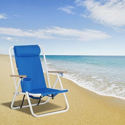 Outdoor Portable High Strength Beach Chair with Adjustable Headrest