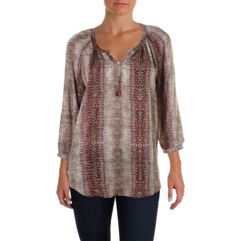 Beach Lunch Lounge Womens Bordeaux Blouse Printed V-Neck