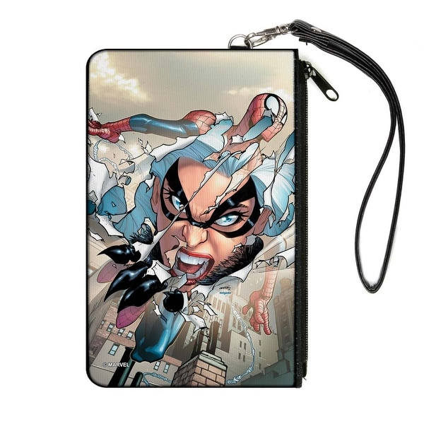 Marvel Universe The Amazing Spider Man Issue #3 Black Cat Ripping Through Canvas Zipper Wallet