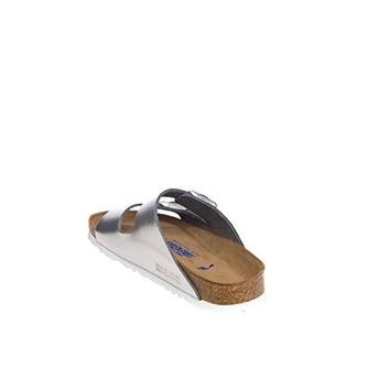 Birkenstock Women's Arizona Soft Footbed Silver Metallic Sandal, 40 EU