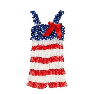 Royal Gem Baby Girls Navy Red White American Flag Lace Layered Romper