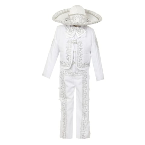 Rain Kids Boys White Rooster Intricate Embroidery 6 Pc Charro Suit