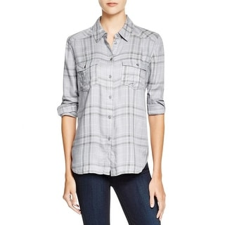 Paige Womens Button-Down Top Plaid Long Sleeves