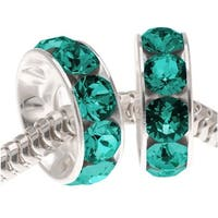 Swarovski Crystal, 77512 BeCharmed Rondelle 4.5mm Large Hole Beads 12mm, 2 Pcs, Blue Zircon
