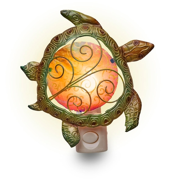 "Set of 4 Metallic Green and Brown Sea Turtle Silhouette Nightlights 8"""