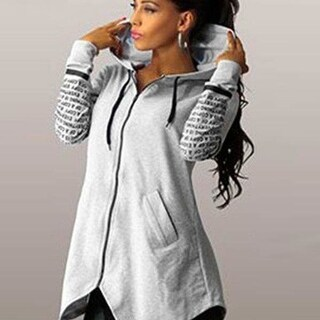 Autumn Winter Women Hoodies Sweatshirts Letter Print Pullover Plus Size Zipper Irregular Top Sportswear