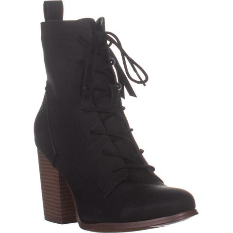 XOXO Magar Lace Up Ankle Boots , Black