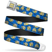 Minion Dave Face Close Up Full Color Minions Scattered Blue Webbing Seatbelt Belt