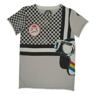 Mini Shatsu Boys Grey Checker Racer Print Short Sleeve Tee