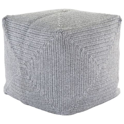 Chadwick Solid Light Gray Indoor/ Outdoor Pouf