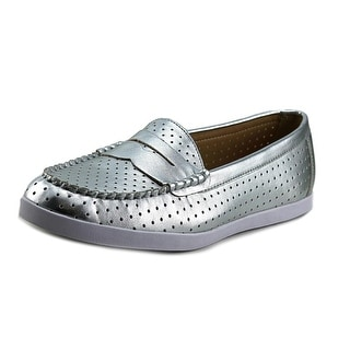 Wanted Carmel Women Round Toe Synthetic Silver Loafer