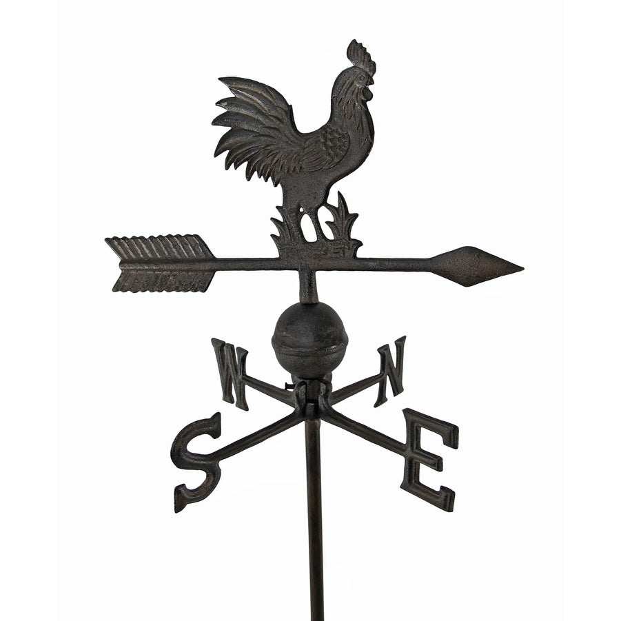 Antiqued Finish Cast Iron Rooster Weathervane Garden Stake 31 X 14 Inches