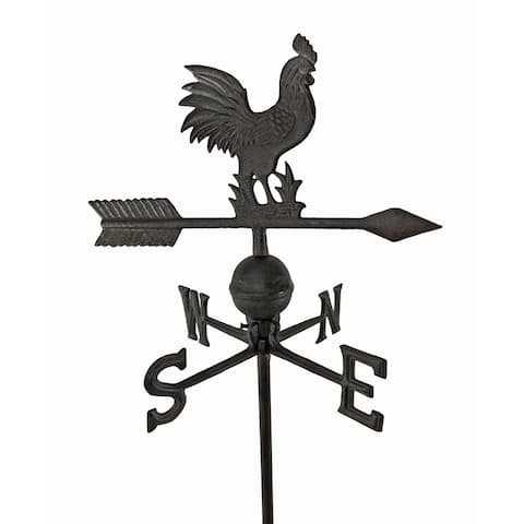 Antiqued Finish Cast Iron Rooster Weathervane Garden Stake - 31 X 14 X 14 inches