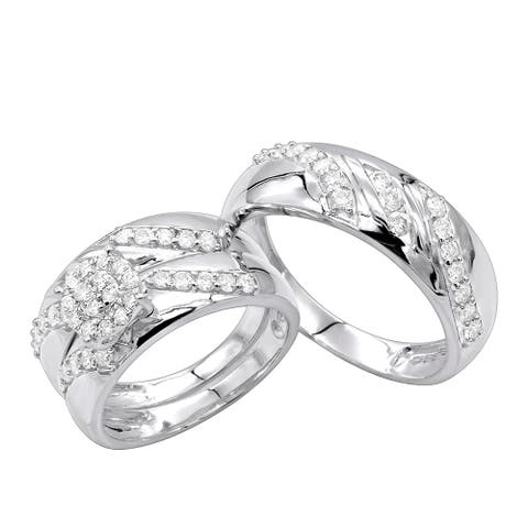 Trio Set His & Hers Bridal Set Round Diamond Engagement Ring and Wedding Bands 0.85ctw in 10k Gold by Luxurman