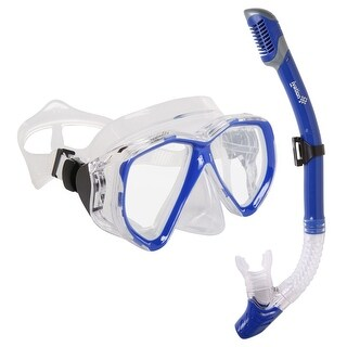 Ivation Snorkel Mask Set - Double Lens Diving Mask & Snorkel w/ Dry Top & Lower Purge Valve