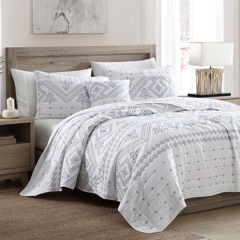 Brielle Home Cross Stitch Quilt Set