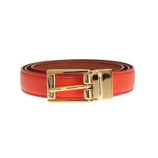 Dolce & Gabbana Dolce & Gabbana Orange Beige Dauphine Leather Belt