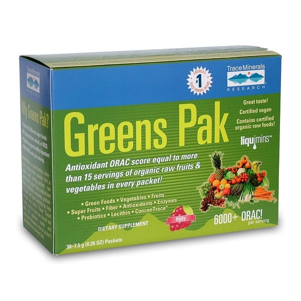 Trace Minerals Greens Pak - 30 Packets | 6,000+ ORAC Value | Powerful Antioxidant