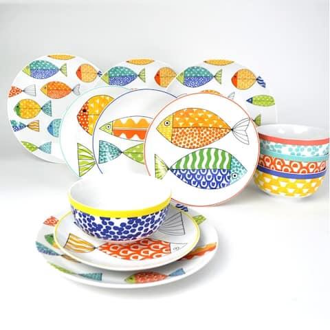Euro Ceramica FreshCatch 12 Piece Dinnerware Set (Service for 4)