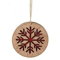 "3.5"" Alpine Chic Brown and Red Country Rustic Style Snowflake Disc Christmas Ornament"