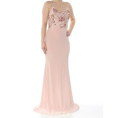 XSCAPE Womens Pink Embroidered Scoop-back Gown Spaghetti Strap V Neck Full Length Mermaid Evening Dress Plus Size: 12